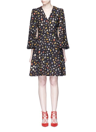 Main View - Click To Enlarge - Alexander McQueen - Obsession print slit sleeve cape dress