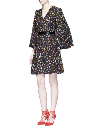 Figure View - Click To Enlarge - Alexander McQueen - Obsession print slit sleeve cape dress