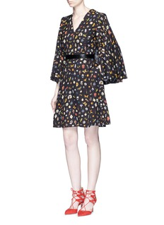 Alexander McQueen Obsession print slit sleeve cape dress