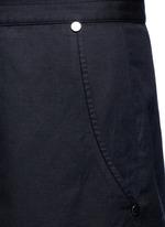 Cropped cotton-linen wide leg pants