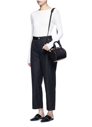 Figure View - Click To Enlarge - Helmut Lang - Cropped cotton-linen wide leg pants