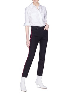 rag & bone/JEAN Logo stripe embroidered outseam jeans