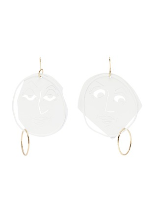 Main View - Click To Enlarge - JW Anderson - Mismatched moon face drop earrings