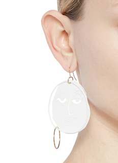 JW Anderson Mismatched moon face drop earrings