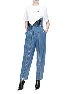 Jinnnn Zip leg strapless denim jumpsuit