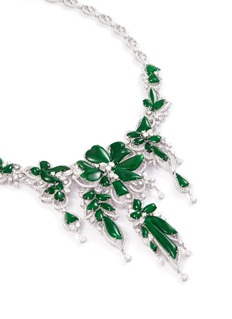 LC COLLECTION JADE Diamond jade 18k gold floral necklace