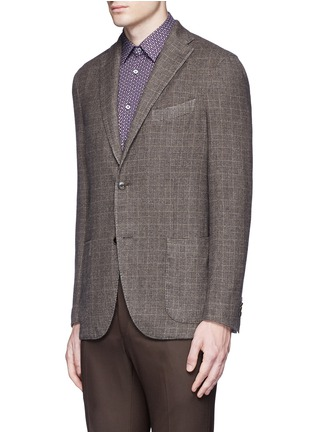 Front View - Click To Enlarge - Boglioli - 'K-Jacket' check cashmere-wool soft blazer