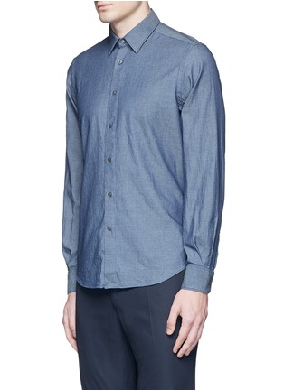 Front View - Click To Enlarge - Boglioli - Diamond jacquard cotton shirt