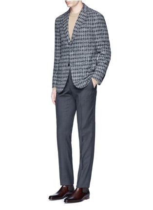 模特儿示范图 - 点击放大 - BOGLIOLI - 暗格纹羊毛西服裤