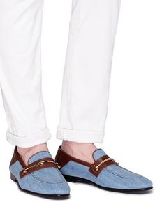 Louis Leeman Horsebit denim step-in loafers