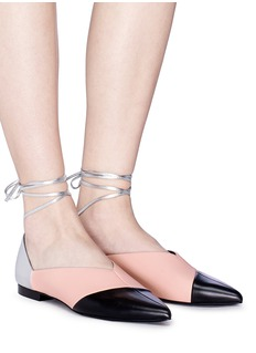 Pierre Hardy Colourblock ankle tie leather flats