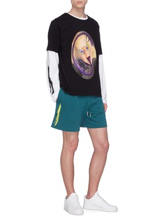 Rochambeau x Aaron Curry abstract graphic embroidered sweat shorts