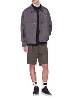 Rochambeau x Aaron Curry graphic print herringbone shirt jacket