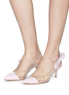 Gianvito Rossi 'Mia' bow clear PVC leather slingback pumps