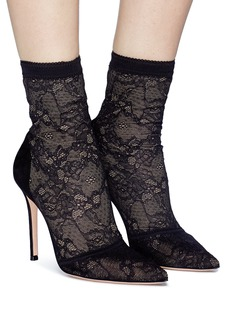 Gianvito Rossi 'Brinn' lace sock suede boots
