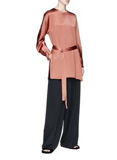 Vince Belted silk satin tunic top