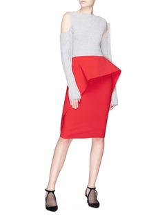 NOHKE Asymmetric peplum drape pencil skirt