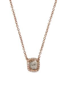 Lorde Jewlery Diamond slice 18k rose gold small square pendant necklace