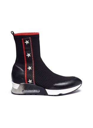 Main View - Click To Enlarge - Ash - 'Liberty' star stripe high top sock knit sneakers