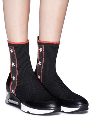 Figure View - Click To Enlarge - Ash - 'Liberty' star stripe high top sock knit sneakers