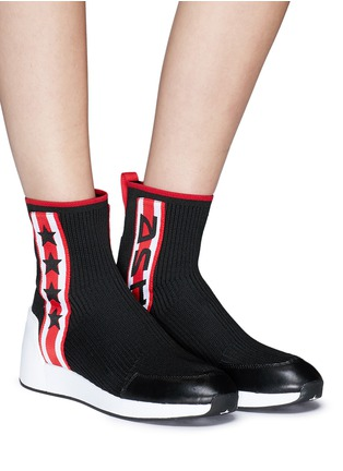 Figure View - Click To Enlarge - Ash - 'Jango' star stripe high top sock knit sneakers
