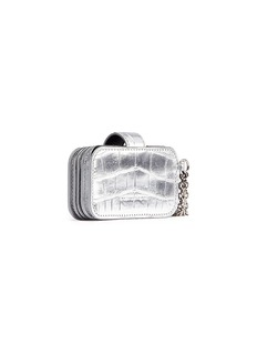 Alexander McQueen Skull chain croc embossed leather accordion card holder