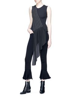 J KOO Ruffle drape sleeveless top
