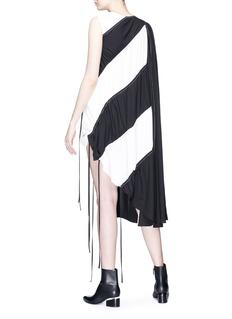 J KOO Asymmetric panel stripe dress
