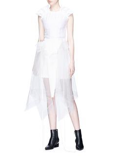 J KOO Ruffle mesh overlay mini skirt