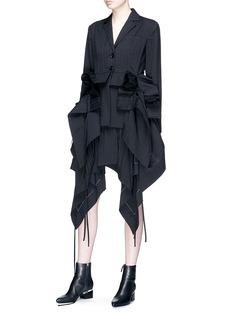 J KOO Ruffle drape pleated blazer