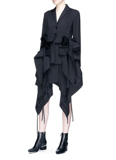 J KOO Ruffle drape mini skirt
