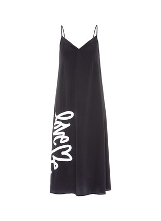 Main View - Click To Enlarge - Love Me x Lane Crawford - Logo embroidered silk crepe slip dress