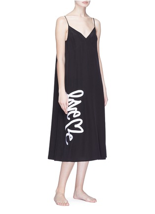 Figure View - Click To Enlarge - Love Me x Lane Crawford - Logo embroidered silk crepe slip dress