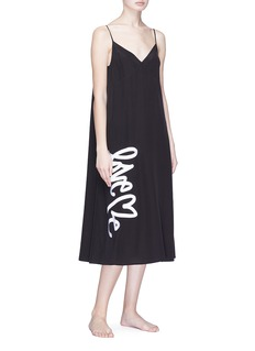 Love Me x Lane Crawford Logo embroidered silk crepe slip dress