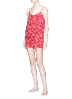 Love Me x Lane Crawford 品牌标志印花真丝吊带睡衣套装