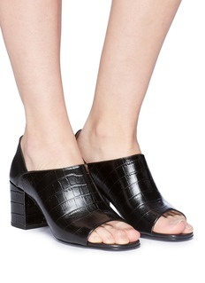Alumnae Croc embossed leather bootie sandals