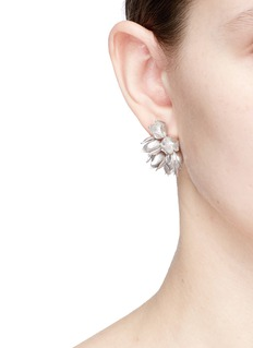 Belinda Chang 'Flora' white gold silver earrings