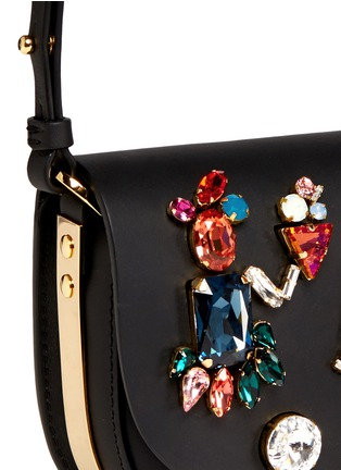 Detail View - Click To Enlarge - Sophie Hulme - 'Barnsbury' mini crystal saddle leather crossbody bag