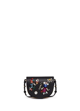 Main View - Click To Enlarge - Sophie Hulme - 'Barnsbury' mini crystal saddle leather crossbody bag