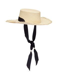 Sensi Studio Ribbon tie toquilla straw boater hat