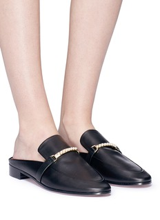 PEDDER RED 'Rio' faux pearl bar leather slides