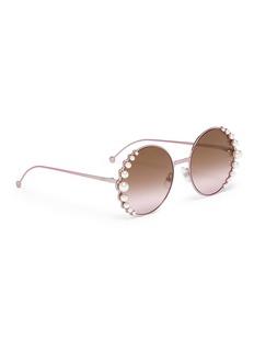 Fendi 'Ribbon and Pearls' embellished metal round sunglasses