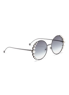 Fendi 'Ribbons and Pearls' oversized metal round sunglasses