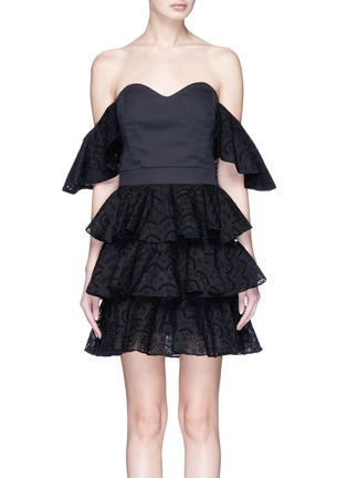 Main View - Click To Enlarge - Caroline Constas - 'Irene' broderie anglaise ruffle off-shoulder mini dress