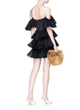 Figure View - Click To Enlarge - Caroline Constas - 'Irene' broderie anglaise ruffle off-shoulder mini dress