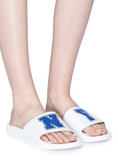 Joshua Sanders 'N.Y.' appliqué slide sandals