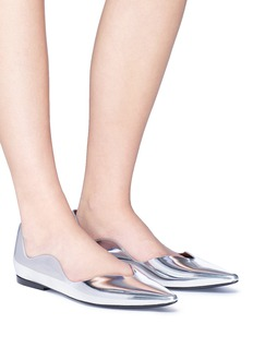 Proenza Schouler 'Wave' mirror leather scalloped skimmer flats