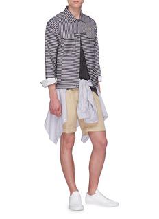 SIKI IM / DEN IM Slogan embroidered stripe twill shirt jacket