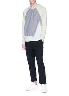 SIKI IM / DEN IM Stripe panel asymmetric zip sweatshirt