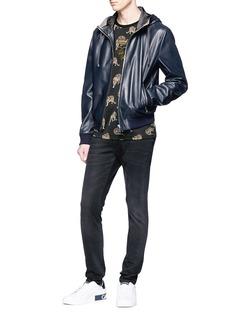 Dolce & Gabbana Lambskin leather zip hoodie